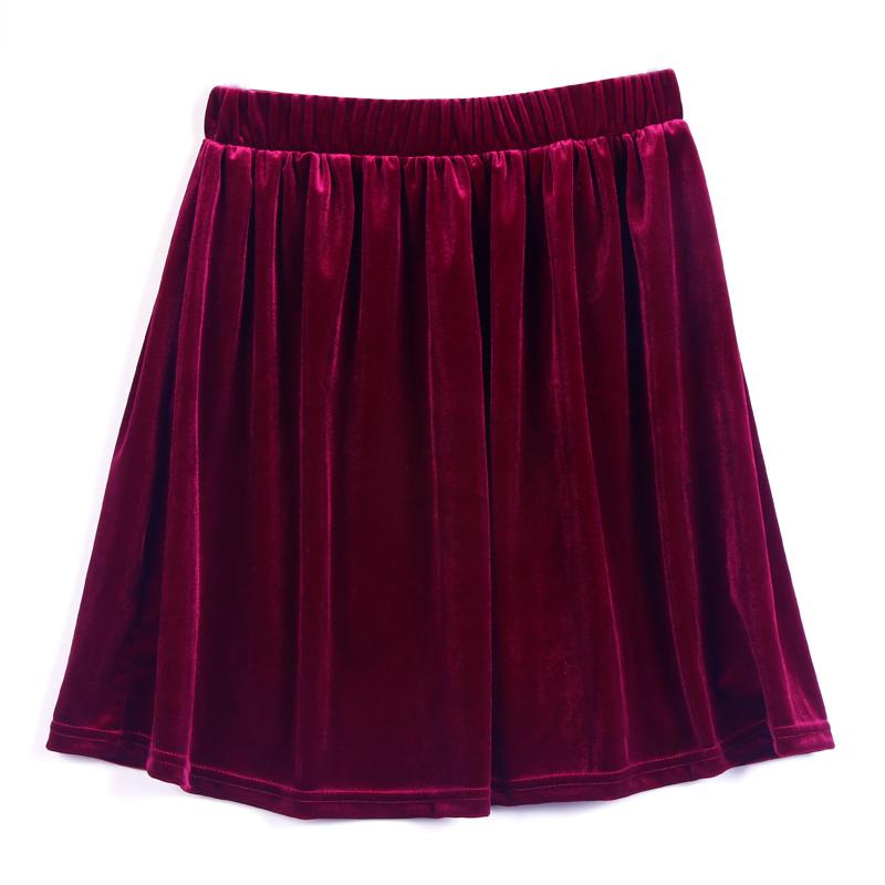 High Elastic Waist Women Vintage Pleated Velvet Mini Pompon Short Shirred Skirts